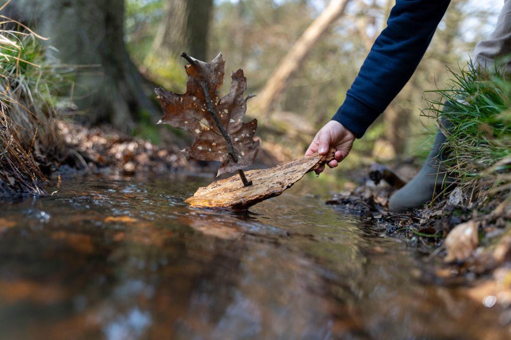 bosbootje in het water zetten